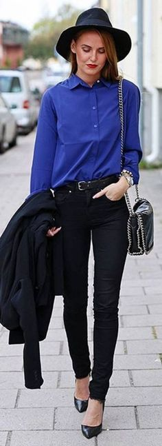 #spring #summer #street #style #outfitideas |Cobalt + Black                                                                             Source
