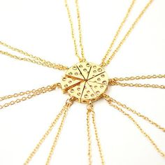 QIHE JEWELRY 8pcs/set Minimalist 3D Tiny Charm Gold Silver Tone Dainty Cheese Pizza Necklace Food Jewelry Friendship Necklace
