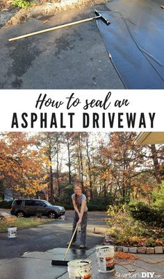 How to seal an asphalt driveway yourself its not hard at all how to seal an asphalt driveway smart girls diy solutioingenieria Choice Image