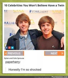 O_O WHAT? You mean to tell me that the Suite Life did NOT use the whole twin-making tech from the Parent Trap? REALLY??
