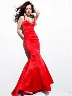 Style Trumpet / Mermaid Sweetheart  Beading  Sleeveless Floor-length Satin Red Prom Dress / Evening Dress