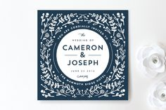 Floral Frame Square Wedding Invitations -- can get this and matching stuff in color of my choice