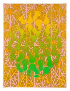Golden, Andy's Dance, 2016 by Mari Rantanen. Acrylic and pigment on canvas. For sale, inquiries: sari.seitovirta@seitsemanvirtaa.com / GALERIE SEITSEMÄN VIRTAA