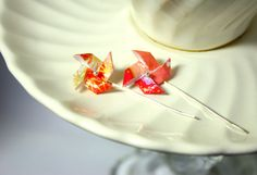Red, Coral, and Gold Pinwheel Earrings -- recycled fine silver. $23.00, via Etsy.