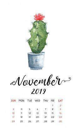 Watercolor cactus calendar for november Premium Vector Watercolor Circles, Watercolor Cactus, Watercolor Background, Watercolor Landscape, Simple Watercolor, Tattoo Watercolor, Watercolor Animals, Abstract Watercolor, Watercolor Illustration