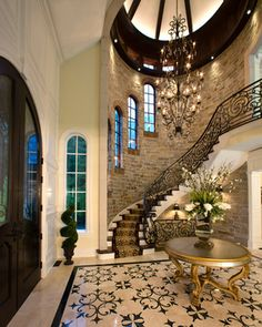 16 Ideas For House Entrance Ideas Luxury Stairways Dream Home Design, My Dream Home, Home Interior Design, Dream Homes, Grand Staircase, Staircase Design, Stair Design, Winding Staircase, Grand Foyer