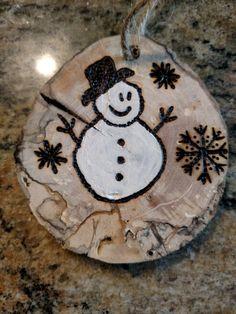 Snowman wood burn ornament