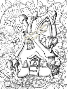 Garden Coloring Pages, House Colouring Pages, Cute Coloring Pages, Adult Coloring Pages, Coloring Books, Fairy Drawings, Cute Drawings, Tree House Drawing, Fairy Tree Houses