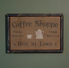 Distressed Wood Coffee Shoppe Sign Primitive Country Wall Decor #Country