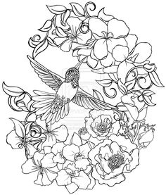 Hummingbird with Flowers Tattoo by ~Metacharis on deviantART --> If you're in the market for the top-rated coloring books and supplies including colored pencils, gel pens, watercolors and drawing markers, logon to http://ColoringToolkit.com. Color... Relax... Chill.
