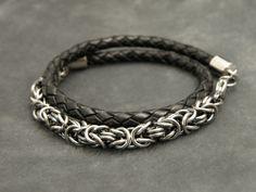 Men's Bracelet Leather Wrap Bracelet Bolo by MailleEnhancement