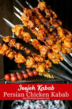 chicken kabob marinade Joojeh Kabab is my go-to kabab recipe when we invite friends for a BBQ. The secret to perfect Persian Chicken Kabab is of course in the marinade. Persian Chicken Kabob Recipe, Iranian Chicken Recipe, Chicken Kabob Recipes, Kebab Recipes, Chicken Kabobs, Persian Kebab Recipe, Iranian Cuisine, Iranian Food, Iranian Dishes