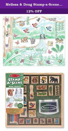 Melissa & Doug Stamp-a-Scene Stamp Set: Rain Forest - 20 Wooden Stamps, 5 Colored Pencils, and 2-Color Stamp Pad. Monkeys, snakes, birds and bugs galore combine to create a jungle straight out of your imagination! This extra-large stamp set for kids makes it easy to create an exciting storyline or a color-in scene: It includes 20 rubber-faced, wooden-handled outline stamps and a two-color stamp pad filled with blue and green washable ink. Five colored pencils coordinate with the jungle…