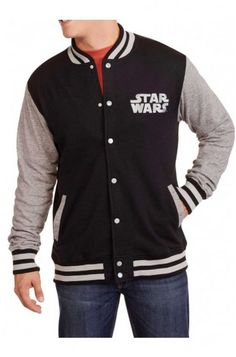 Feature stylish interpretations of Star Wars Varsity Jacket ca good as casual with best of its fans favorite appearance outfitting men's gear ups increase up charm Star Wars Jacket, Star Wars Shop, Mens Fleece, Big Men, Movie Stars, Black And Grey, Man Shop, Stylish, Casual