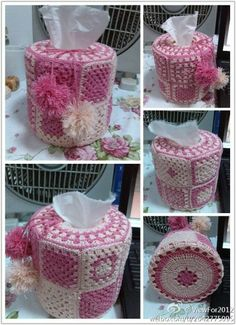 Round tissue box cover, granny square, without diagram. Excellent work for a visual crocheter.