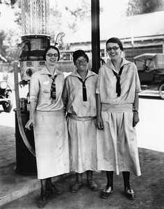 +~+~ Vintage Photograph ~+~+  Three service station attendants.  Los Angeles, California.