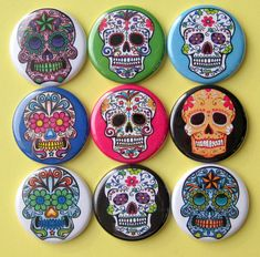 Sugar Skulls Magnets - Set of Nine 1.25 Inch Button Magnets Packaged in a Custom Box