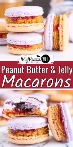 These Peanut Butter & Jelly Macarons show off grape and peanut butter colored shells and are filled with a peanut butter and grape jelly filling! Jelly Filling Recipe, Macaron Filling, Macaron Flavors, Macaron Recipe, Mini Desserts, Jelly Desserts, Delicious Desserts, Yummy Food, Jelly Cookies