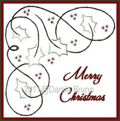 Free Paper Stitching Cards Patterns | Holly Corner Christmas Paper Embroidery Pattern for Greeting Cards