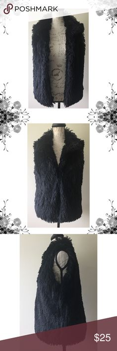 "{INC} Black Faux Fur Vest Condition: Gently pre-loved  Approximate measurements: Chest: 20"" Length: 25""  Material: Polyester   Details: Sz S/M. Hook closure. Pockets at sides.  Bundle for discounts! 5lb bundle weight limit. Thank you for shopping my closet! INC International Concepts Jackets & Coats Vests"