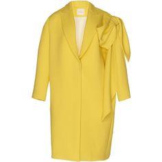 Shearling Jacket | Moda Operandi (€2.165) ❤ liked on Polyvore featuring outerwear, jackets, straight coat, bow coat, yellow coat and oversized coats