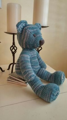 Just finished knitting my first teddy bear!