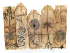used tea bags, marked paper, dried plant parts, black and golden yarn, wax Tea Bag Art, Tea Art, Collages, Collage Art, Used Tea Bags, Tea Stains, Handmade Books, Recycled Art, Art Journal Inspiration