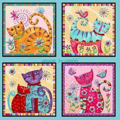 cat patchwork fabric Cool Cats by Debi Hron Gatos Cool, Art Fantaisiste, Wal Art, Cat Quilt, Cat Crafts, Decoupage Paper, Cat Drawing, Cat Colors, Whimsical Art