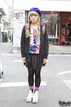 Cute Girl's Blonde Braids, Blue Beret & Short Chiffon Skirt