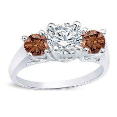 Auriya 14k Gold 2ct TDW 3-Stone Engagement Ring (Brown, I1-I2) (Yellow Gold - Size 4), Women's