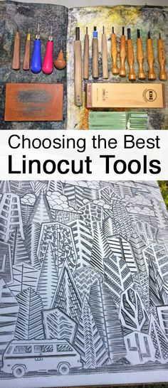the Best Linocut Carving Tools for Block Printing Recommendations on choosing linocut carving tools for linoleum block printing. By Boarding All Rows.Recommendations on choosing linocut carving tools for linoleum block printing. By Boarding All Rows. Stamp Carving, Carving Tools, Linocut Artists, Printmaking Supplies, Linoleum Block Printing, Stencils, Tampons, Screen Printing, Block Prints