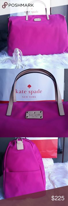 Jumbo Kate Spade Hot Pink Overnight Duffle Bag Extra Large Hot Pink Overnight Duffle Travel bag! New with tags authentic and so pretty!  Interior and exterior pockets for organization Zipper closure Includes removable shoulder strap Nylon polyester material  Measures Aprox Height 12 Inches  Wide 9 inches  Length 19 1/2 inches kate spade Bags Travel Bags