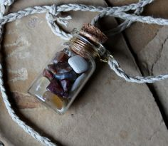 Oregon Agate Bottle Necklace by Lupa. At http://thegreenwolf.etsy.com