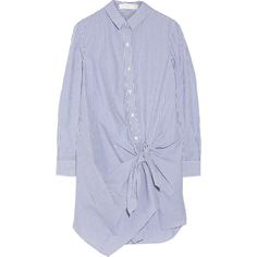 Thakoon Addition Tie-front striped cotton shirt dress ($245) ❤ liked on Polyvore featuring dresses, blue, striped dress, shirt-dress, stripe dress, shirt dress and blue shirt dress
