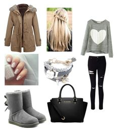 """❄️☕️❄️"" by camille-hnq ❤ liked on Polyvore featuring Miss Selfridge, UGG and MICHAEL Michael Kors"