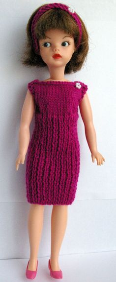 Fuchsia Sindy ribbed dress and headband fit DOLLS Tammy Tressy Barbie Fashion