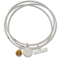 NHL Boston Bruins Triple Bangle Bracelet by Logo Art. $25.99. LogoArt  has creatively taken your favorite team logo in a highly polished alloy and enhanced this trendy triple bangle bracelet design with a clean and bright Preciosa crystal charm, symbolizing the distinctive team color.
