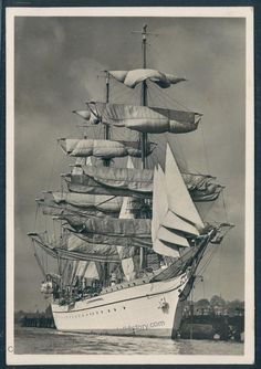 "Germany  Navy School Sailing Ship ""Gorch Foch"", RPPC"