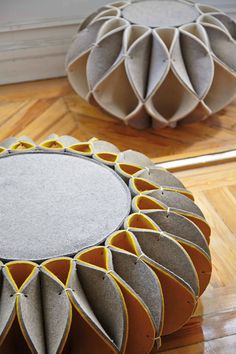 Discover thousands of images about Wool felt pouf RUFF POUF HIGHT Ruff pouf Collection by GAN By Gandia Blasco design Romero Vallejo Felt Crafts, Diy And Crafts, Diy Furniture, Furniture Design, Ideias Diy, Fabric Manipulation, Textile Art, Origami, Wool Felt
