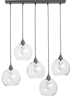 industrial chandelier with a modern twist that allows you to suspend five glass globes from one black iron bar. Go for a fomal look by hanging globes at the same level or mix things up by hanging them at different heights. Firefly Pendant Lamp - $199.00 by CB2