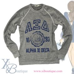The most comfortable sweatshirt!! Perfect for every Alpha Xi Delta only at Xi Boutique!