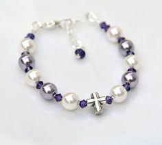 Baptism Bracelet Baby Girl - Sterling Silver Cross Rosary Bracelet - Purple and White Swarovski Pearls Crystal - Catholic Christening Gift by RosariesOfLove on Etsy