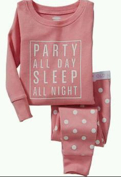 Old Navy 3T Pink 'Party All Day Sleep All Night' Pajamas Set NWT #OldNavy #TwoPiece