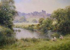"""Alnwick Castle, Northumberland, Acrylic painting, 14""""x10"""", Joe Hush"""