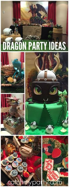 Find out How to Train Your Dragon at this amazing party! See more party ideas at… Dragon Birthday Parties, Dragon Party, Cool Birthday Cakes, Boy Birthday, Birthday Ideas, Karate Birthday, Birthday Cupcakes, Toothless Party, Viking Birthday