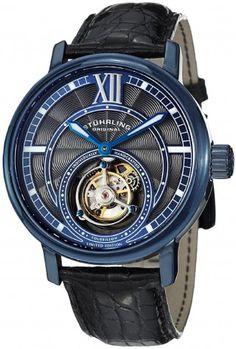 Stuhrling Original 396.33XX6 Tourbillon Imperium Blue Tone Mechanical Skeleton Watch For Men
