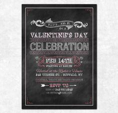 Valentine's Day Invitation - Printable - Chalkboard Style. $15.00, via Etsy.