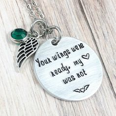 Memorial Necklace, Your Wings Were Ready, My Heart Was Not, Sympathy Gift, Remembrance Jewelry, Loss Of Spouse, Child, Mom,Memorial Keepsake