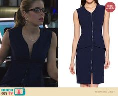 Felicity's blue zip front dress on Arrow. Outfit Details: http://wornontv.net/26584 #Arrow #fashion