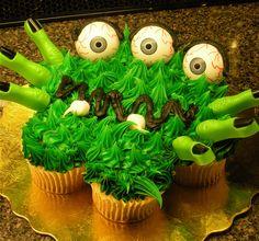 Green Halloween Monster Cupcake Cake...#iloveavocadosforhalloween